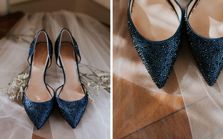 charlottesville bride - charlottesville wedding - badgley mischka jewel - something blue shoes - winter bride