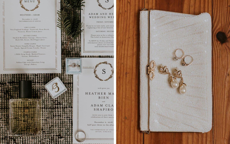 charlottesville bride - charlottesville wedding -bridal clutch - burren perfumery winter woods - winter bride