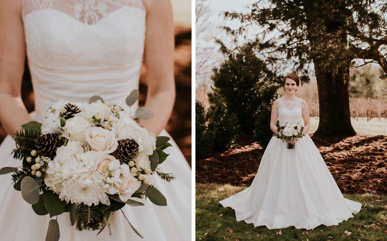charlottesville bride - charlottesville wedding - augusta jones wedding dress - augusta jones paz - winter bride - farmhouse at veritas wedding - winter bride bouquet