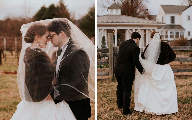 charlottesville bride - charlottesville wedding - augusta jones wedding dress - augusta jones paz - winter bride - farmhouse at veritas wedding - winter bride fur