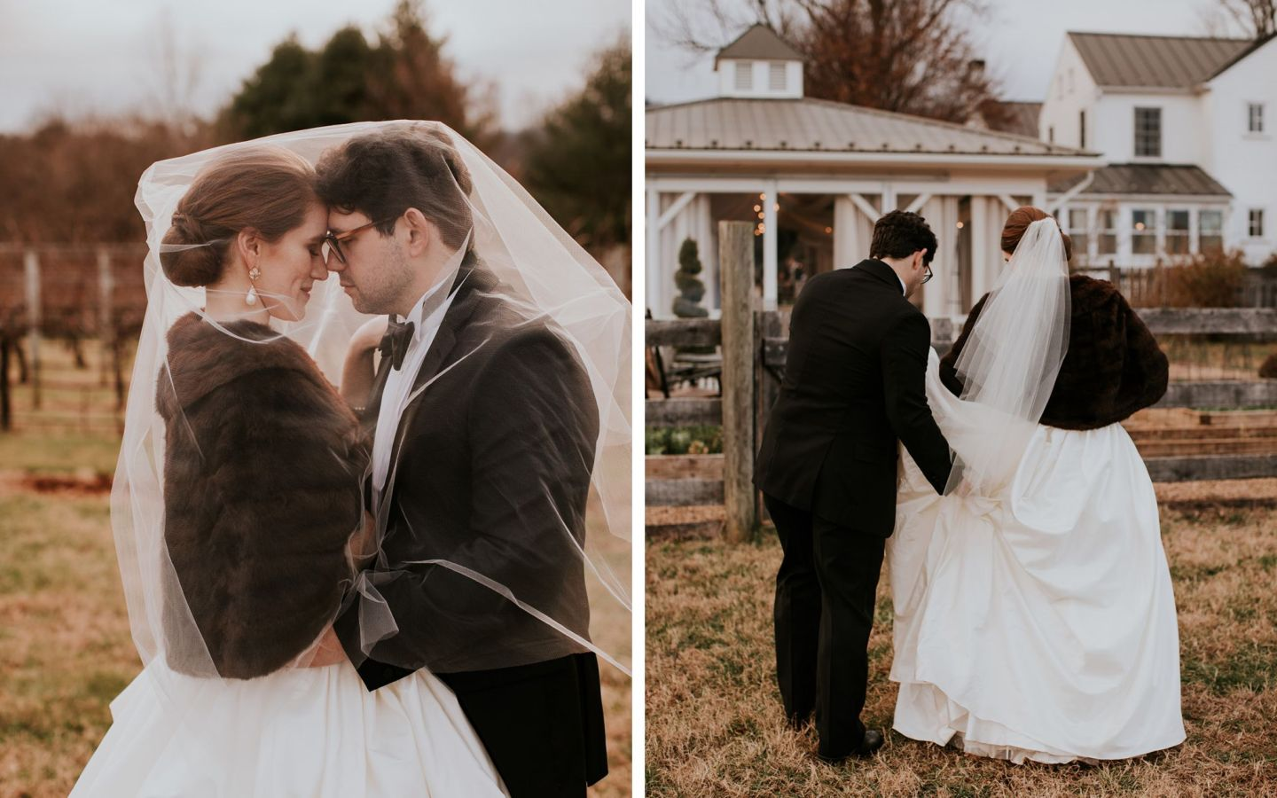 charlottesville bride - charlottesville wedding - augusta jones wedding dress - augusta jones paz - winter bride - farmhouse at veritas wedding - winter bride fur