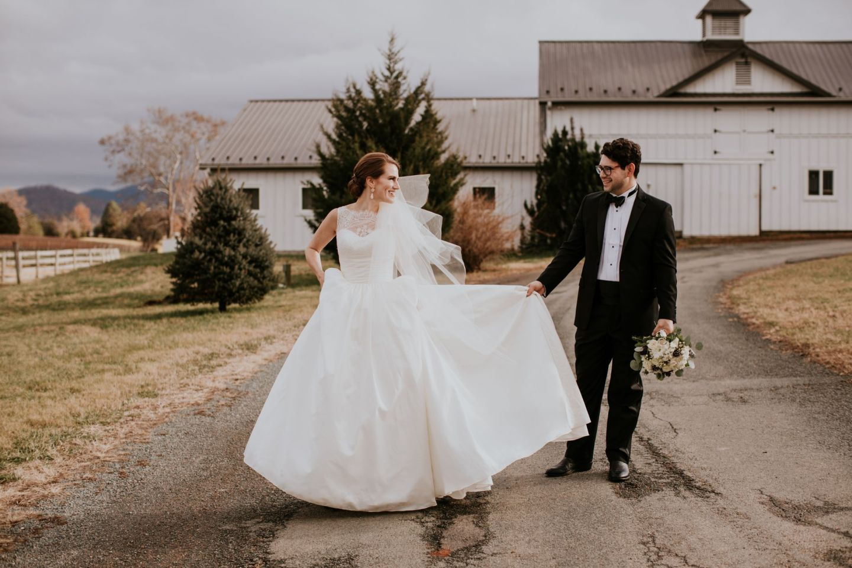 charlottesville bride - charlottesville wedding - augusta jones wedding dress - augusta jones paz - winter bride - farmhouse at veritas wedding