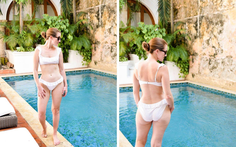 j.crew ruffle bikini - j.crew honeymoon bikini - j.crew white bikini - white honeymoon bikini - casa san agustin honeymoon - cartagena honeymoon