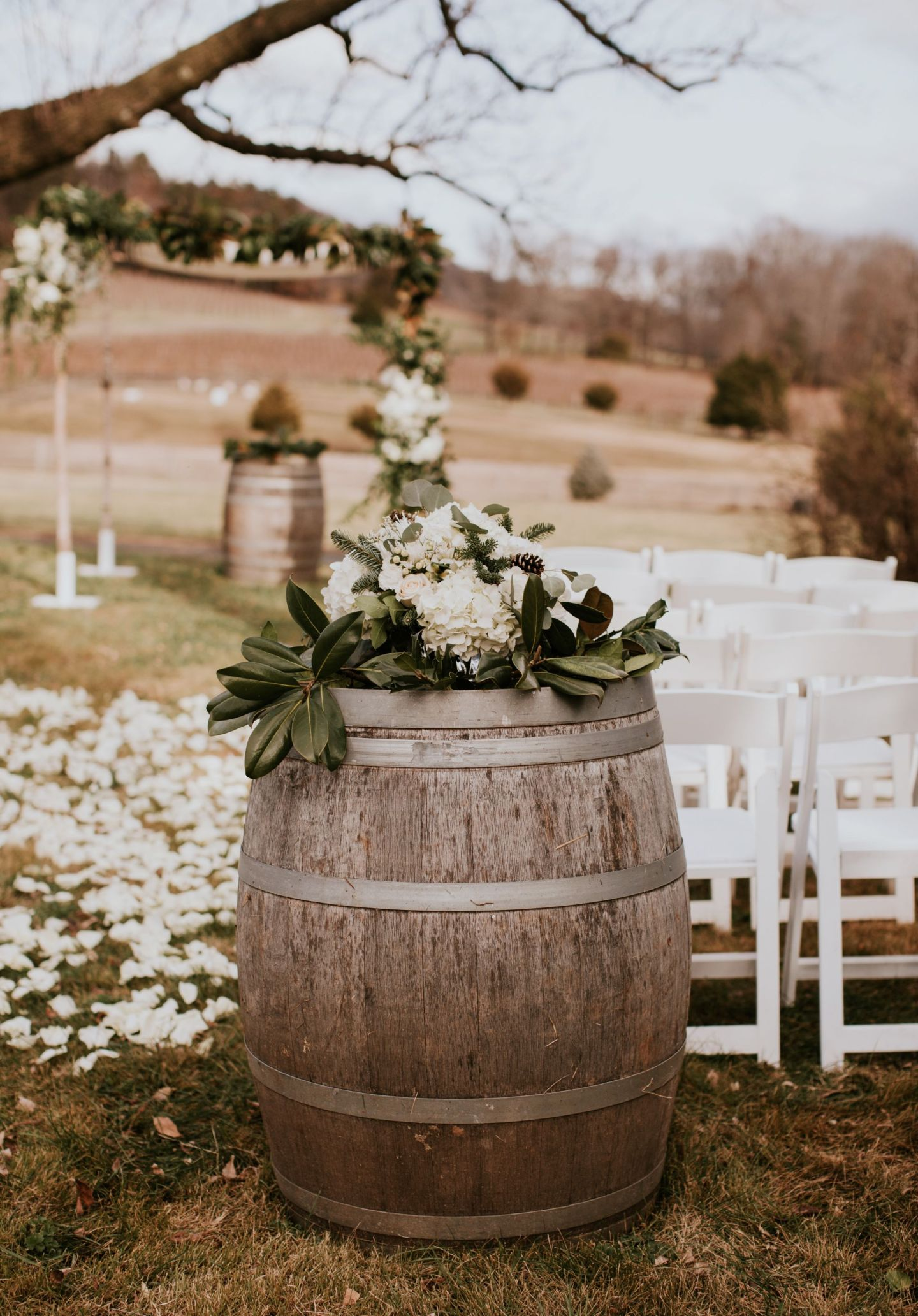 winter wedding flowers - winter chuppah - chuppah with magnolia - winery chuppah