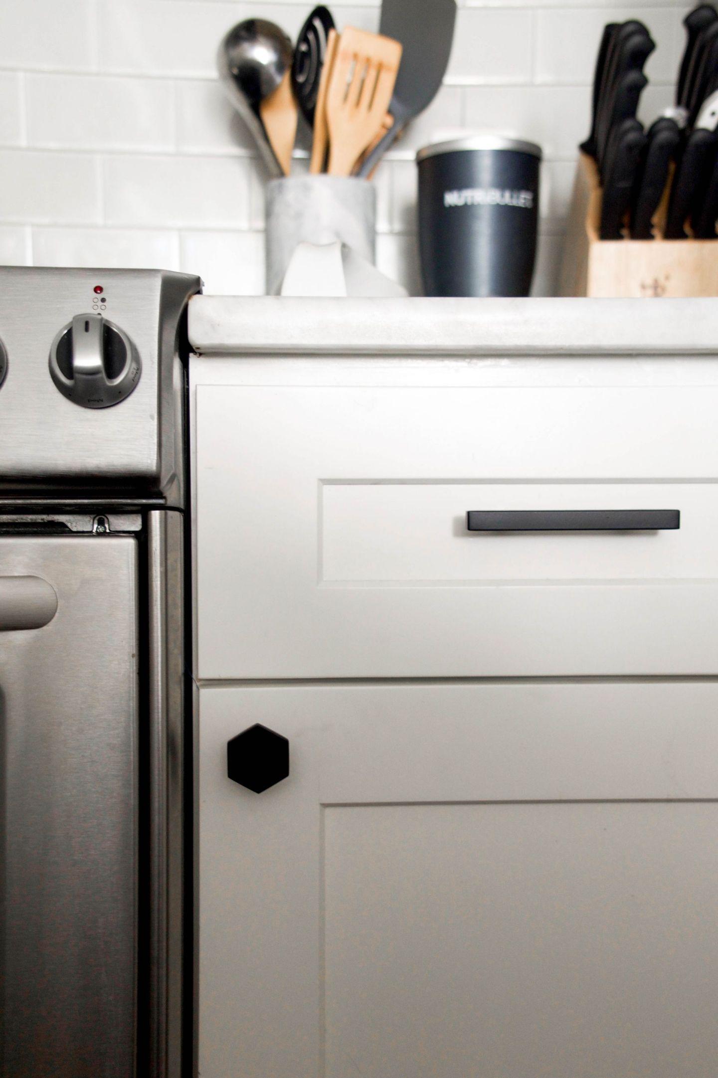 cb2 cabinet hardware - cb2 hex knob - update kitchen hardware