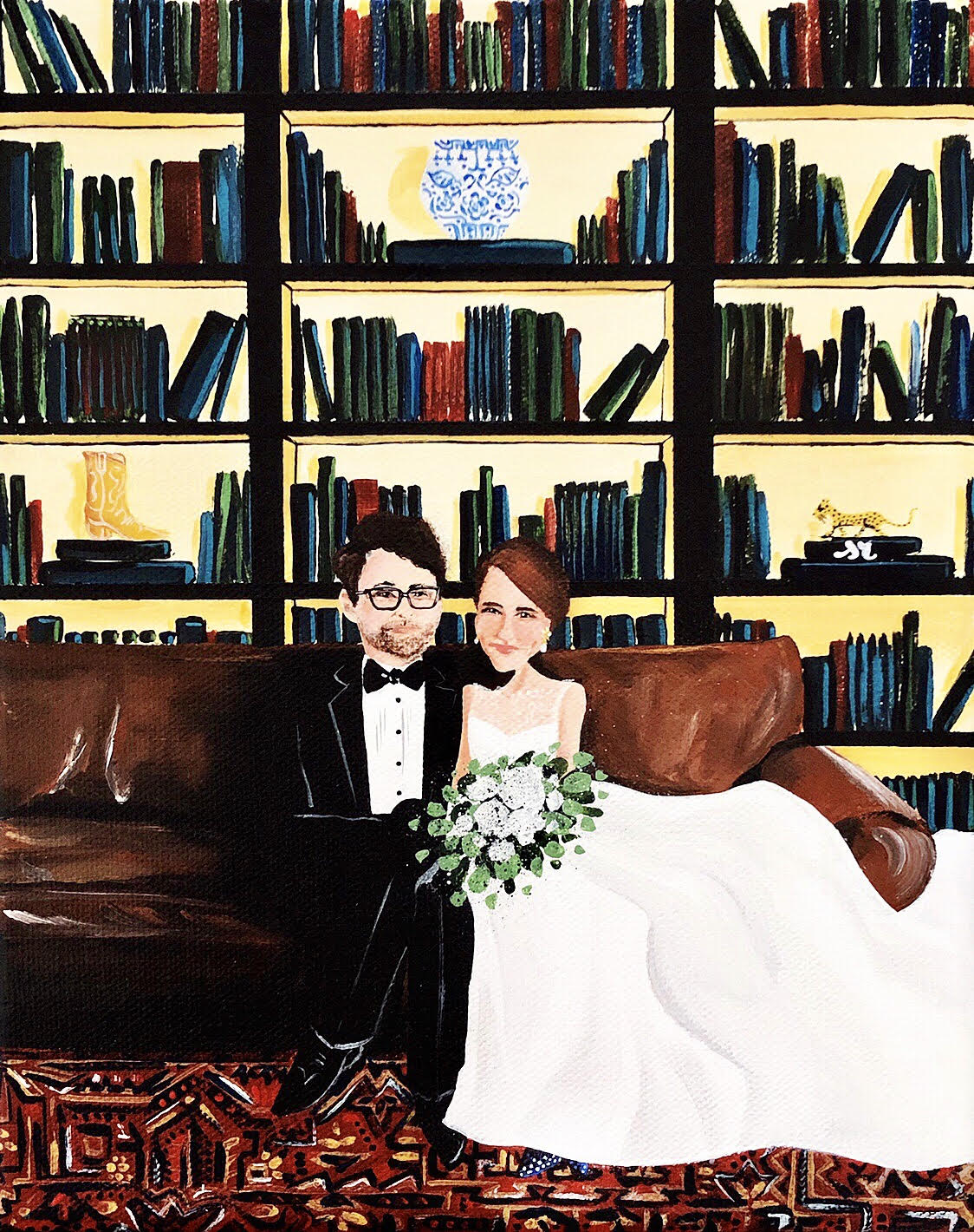 wedding portrait - first anniversary gift - paper anniversary gift idea - sarah russell painter