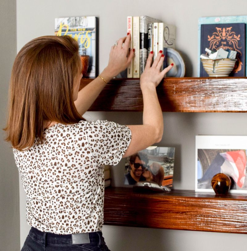 A DIY with Impact: Stain and Install Floating Wood Shelves