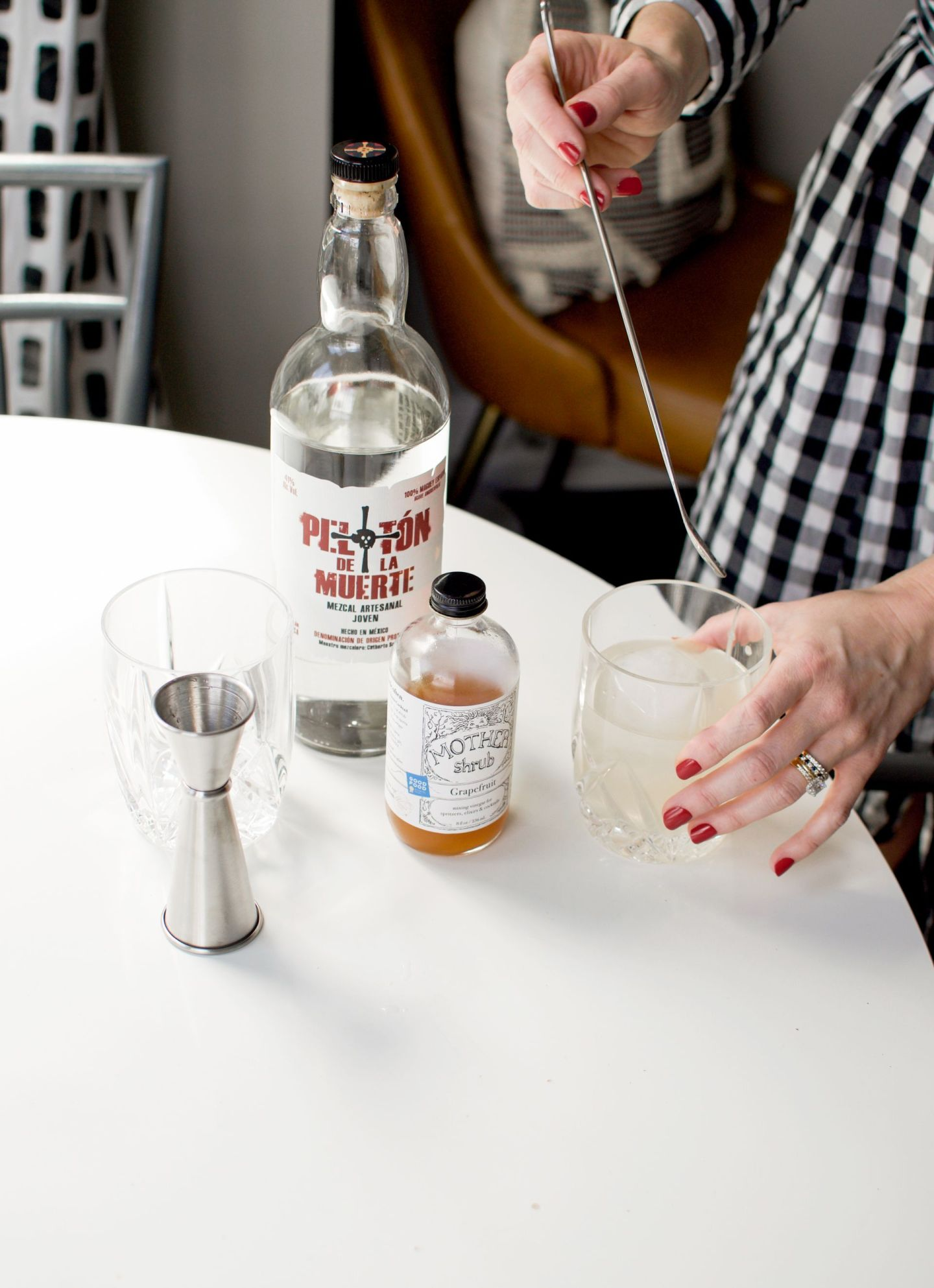 grapefruit shrub cocktail - drinking vinegar cocktail