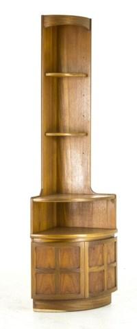 B480A Mid Century Modern Teak Open Corner, Curio Cabinet