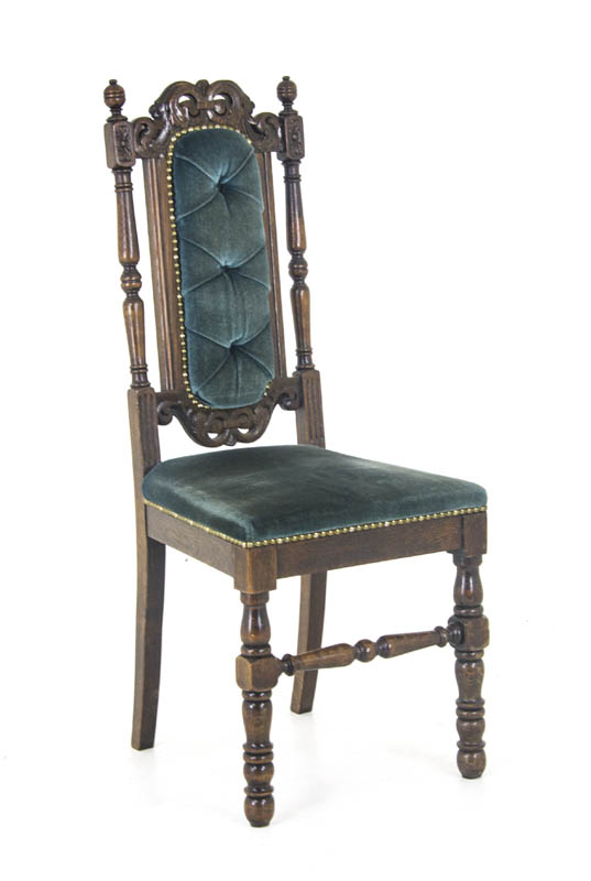 Antique Carved Chairs Upholstered Oak Chairs Scotland 1880 B869