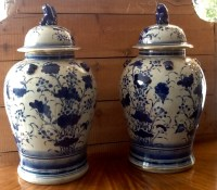 Pair of Blue and White Temple Jars | Antique Decorative Items