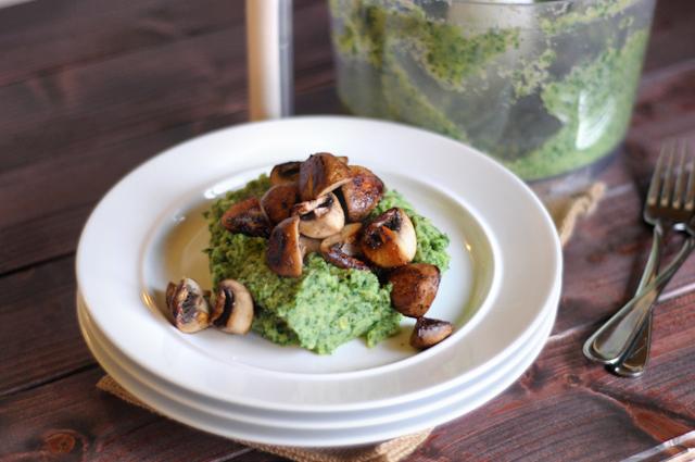 Garlicky Cauliflower, Kale and Avocado Puree with Caramelized Mushrooms    Heather's Dish #paleo