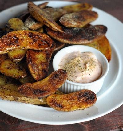 Ranch Roasted Fingerling Potatoes with Buffalo Yogurt Dipping Sauce