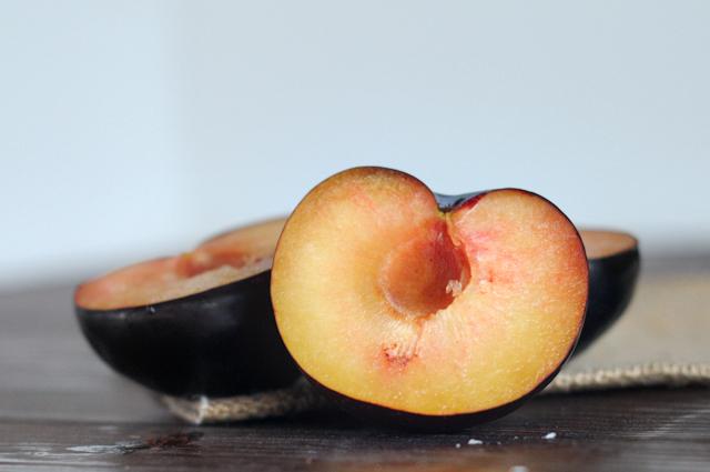 Roasted Maple Balsamic Plums with Honey Basil Greek Yogurt || Heather's Dish