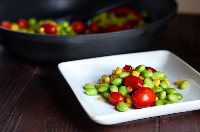 Sweet and Spicy Edamame Corn Succotash || HeathersDish.com