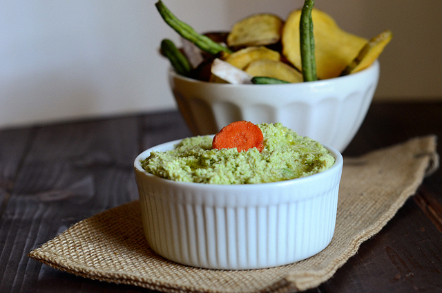 Spicy Edamame Hummus || HeathersDish.com  This spicy edamame dip is high in protein and fiber and best eaten with deliciously sweet veggie chips or carrot sticks!