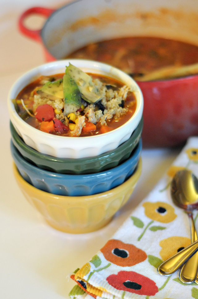 Roasted Poblano, Chicken and Quinoa Soup || HeathersDish.com