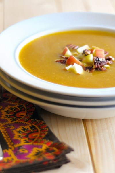 Silky Vegan Pumpkin Soup with Fresh Apples and Toasted Pecans