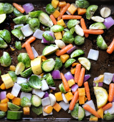 Hearty Roasted Winter Vegetable Salad with Honey Ginger Dressing