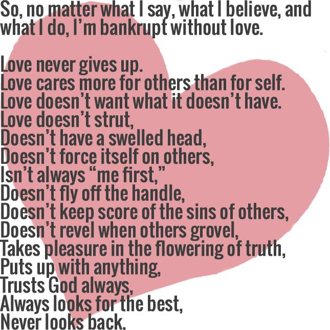 1 Corinthians 13:3-7