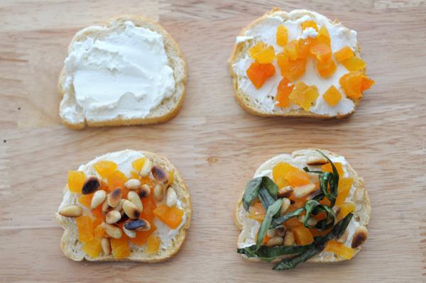 apricot-pine-nut-basil-goat-cheese-bruschetta