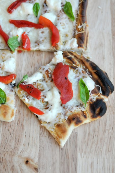 Roasted Red Pepper Grilled Pizza || HeathersDish.com