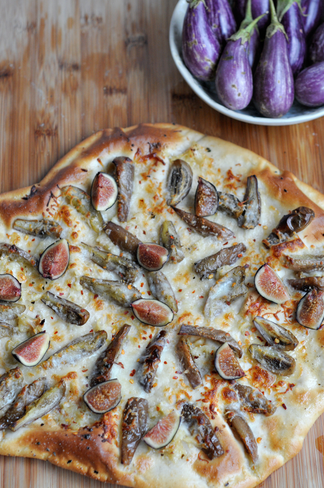 Roasted Eggplant & Garlic Pizza || HeathersDish.com