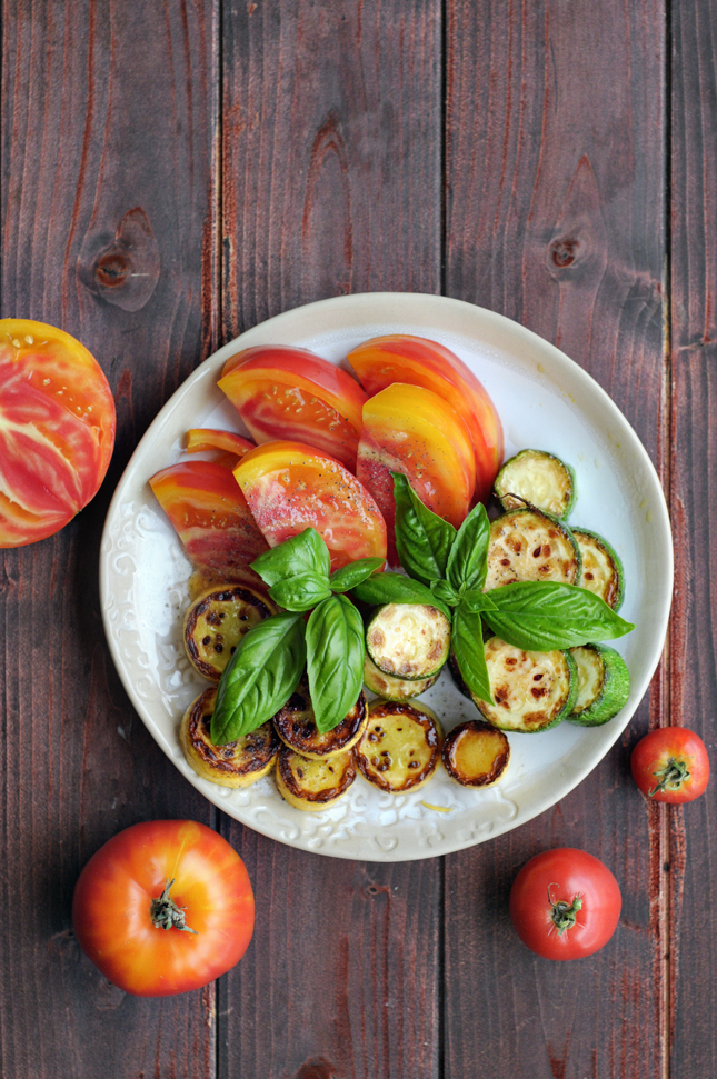Seared Summer Squash & Heirloom Tomato Salad || HeathersDish.com