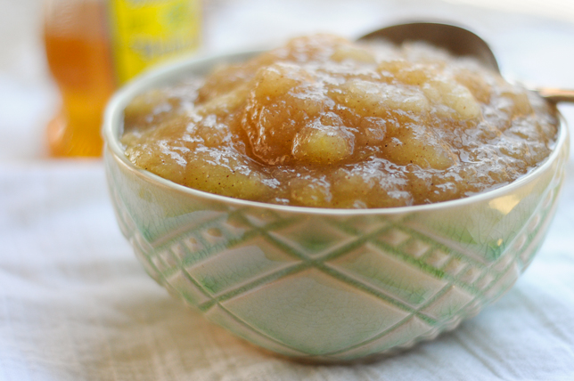 Honey-Sweetened Applesauce is a delicious snack or condiment that you can feel good about eating. Use local honey to up the immunity during allergy season.