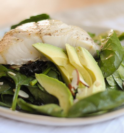 Mustard-Roasted Sablefish Spinach Salad