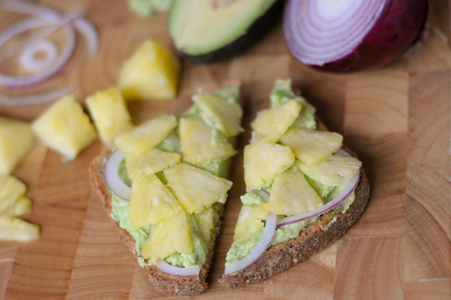 Smashed Avocado Toast with Red Onion and Pineapple