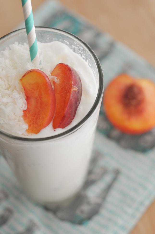 Coconut Peach Slush || @heathersdish