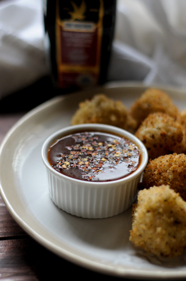 arancini di riso with spicy balsamic tomato dipping sauce with @denigris1889 and @heathersdish