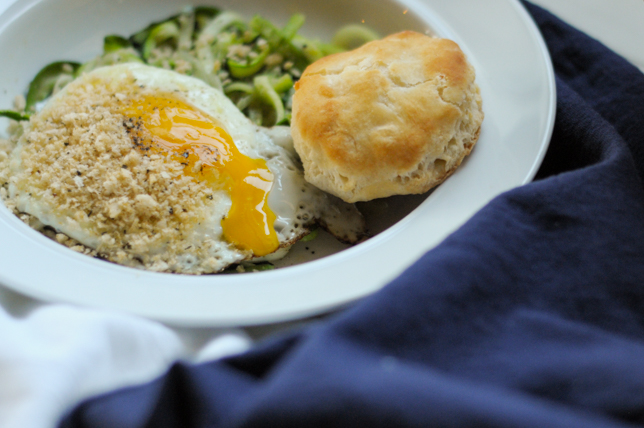 Simple Zucchini Breakfast Bowl with Herbed Breadcrumbs