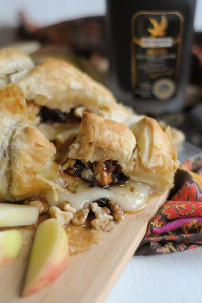 Brie en Croute with Balsamic Marinated Cherries and Browned Butter Walnuts