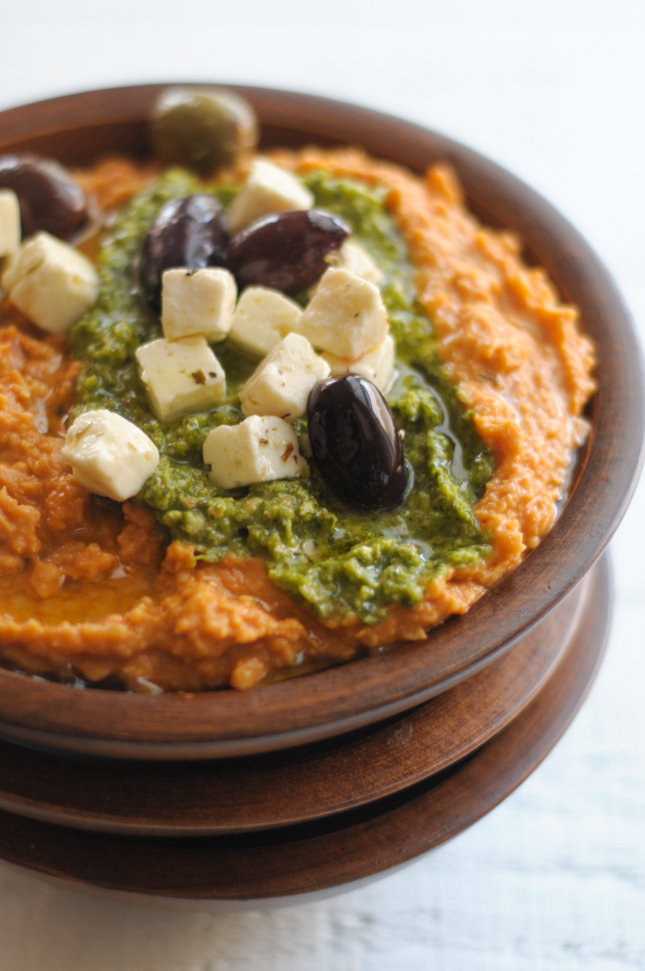 The Easiest Ever Red Pepper and Pesto Hummus with @BushsBeans @heathersdish