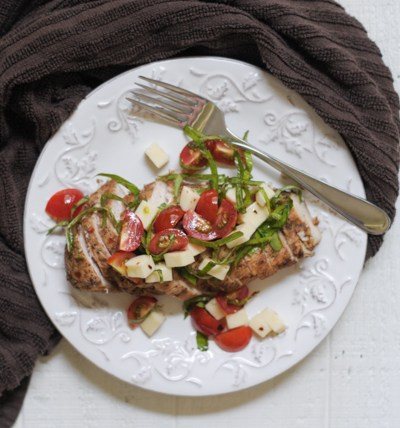 Simple Balsamic Caprese Chicken @heathersdish #healthyeating