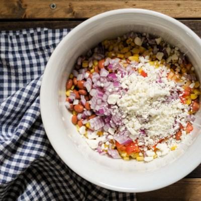 Summery Corn, Pinto Bean and Feta Salad