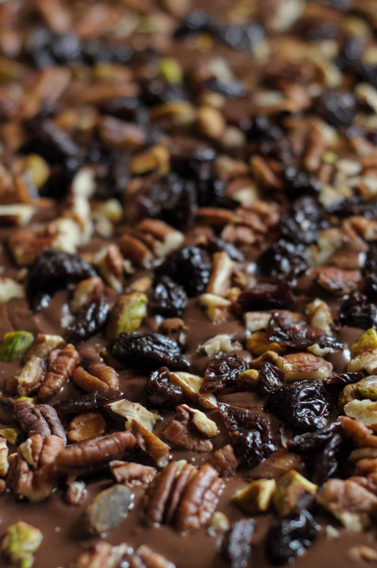 Almond Butter Swirled Nutty Chocolate Bark