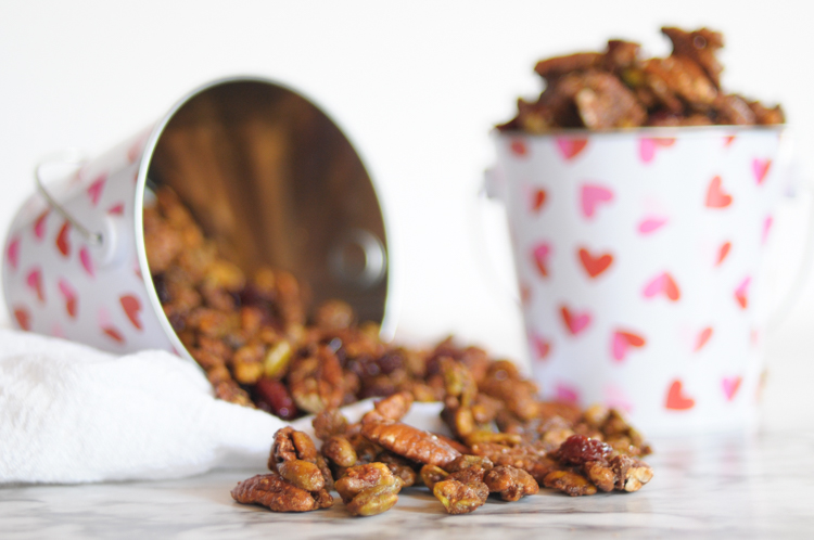 Healthier Homemade Candied Pecans and Pistachios with Dried Cherries are the perfect snack, yogurt topping, salad add-in, and charcuterie board filler! Enjoy in every way possible!