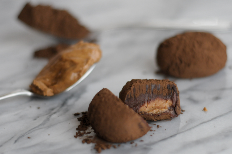 Dark Chocolate Truffles for One (or two if you like sharing) scales down a classic chocolate truffle recipe so that you can enjoy the goodness without the guilt! @heathersdish #cookingforone #cookingfortwo #chocolate