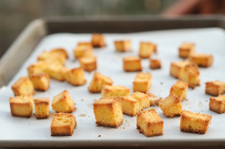 Simple Cornbread Croutons are the perfect accompaniment to salads and soups all year long. These croutons are perfectly crunchy and crispy, they take zero effort for maximum flavor. @heathersdish