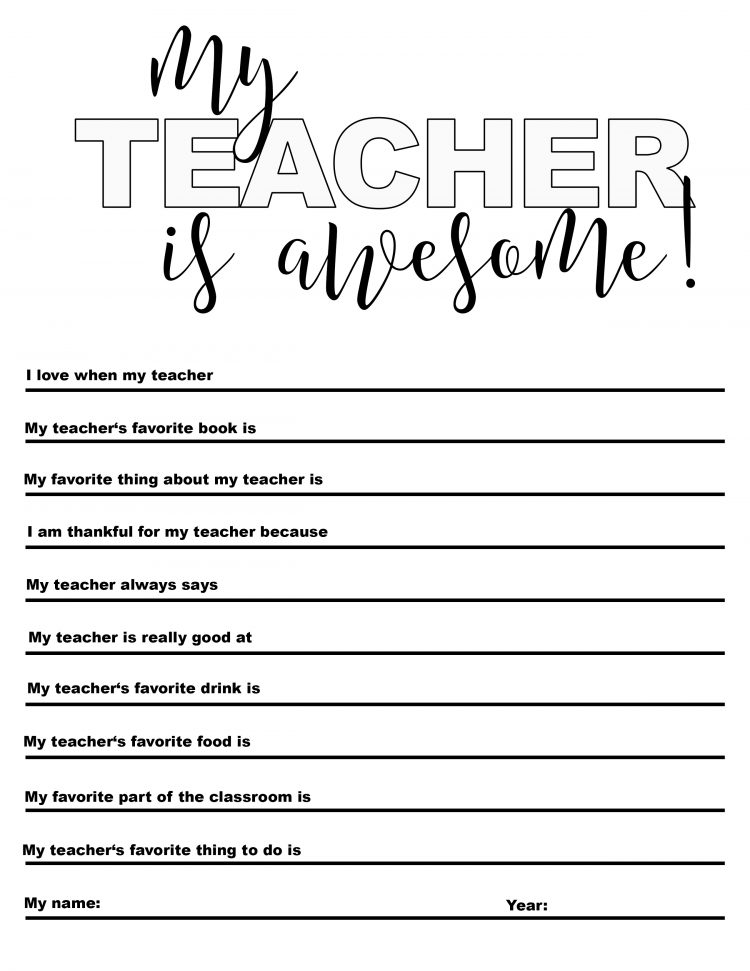 Agile image regarding all about my teacher free printable