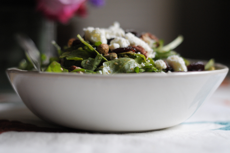 Nutty Arugula, Dried Cherry and Feta Salad @heathersdish