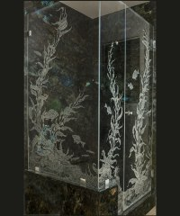 Etched Glass Shower Doors and Etched Glass Shower Enclosures