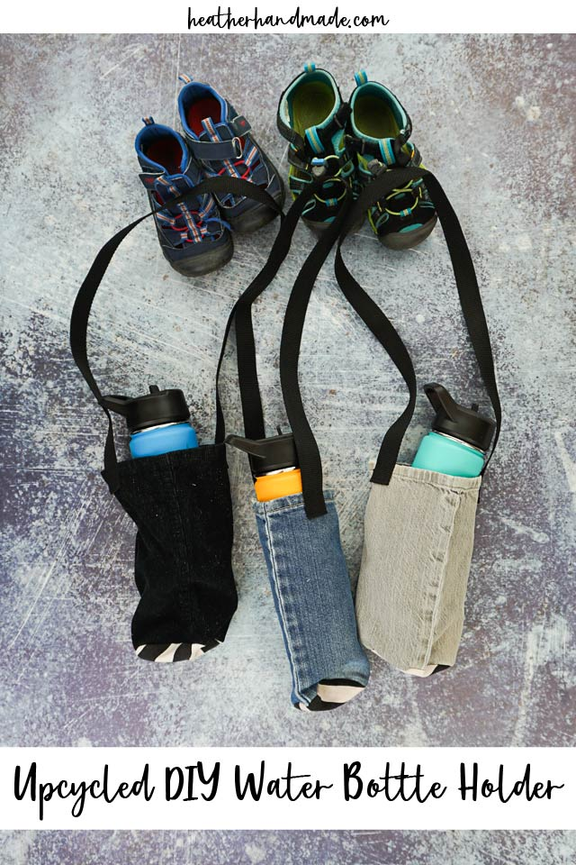 Make a water bottle holder from old pants - Upcycled sewing tutorial