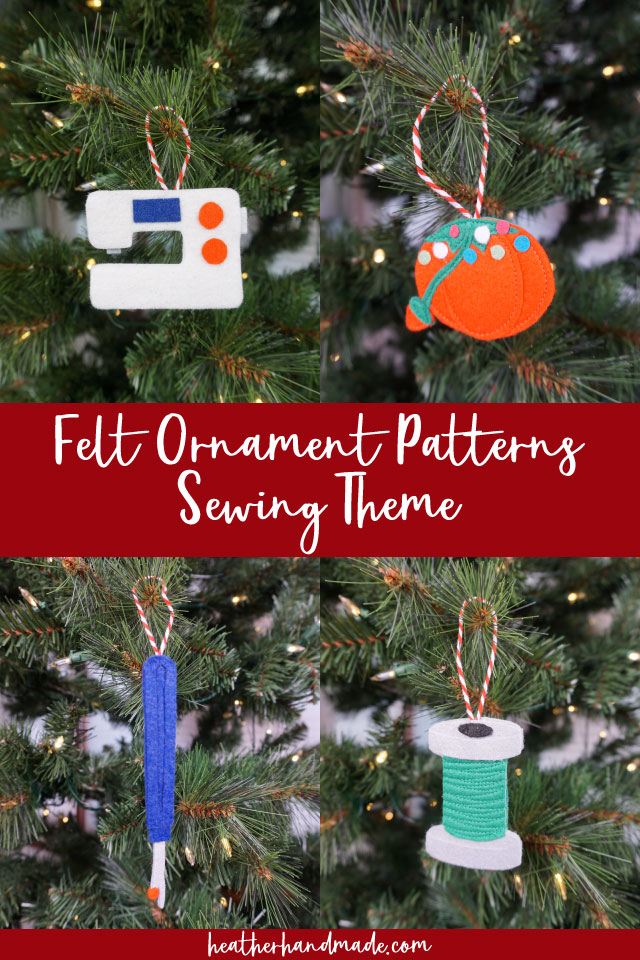 Felt Sewing Themed Christmas Ornaments - Sewing Pattern