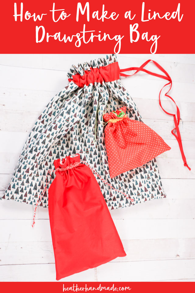 Lined Drawstring Reusable Gift Bag - DIY Sewing Tutorial