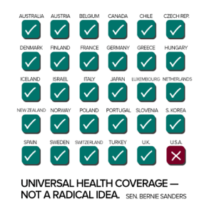 Countries with universal healthcare.