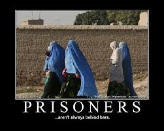 Women in hijab: not all prisoners are behind bars.